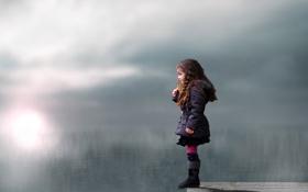 Картинка взгляд, озеро, настроение, девочка