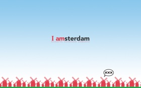 Обои небо, надпись, мельницы, амстердам, amsterdam, i amsterdam