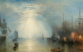 Картинка небо, облака, корабли, картина, парус, морской пейзаж, Уильям Тёрнер