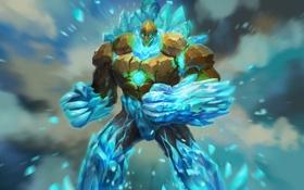 Обои лед, арт, vern, голем, магия, juggernaut wars