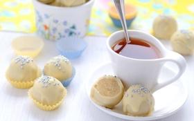 Картинка фон, обои, чай, еда, ложка, кружка, крем