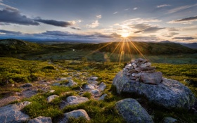 Картинка трава, солнце, закат, камни, холмы