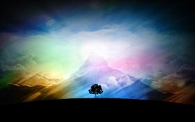 Обои небо, облака, горы, дерево, ландшафт, солнечный свет