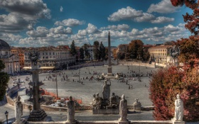 Обои дома, Рим, Италия, фонтан, мостовая, обелиск, Пьяцца-дель-Пополо