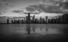 Картинка небо, отражение, здания, небоскребы, черно-белое, USA, америка