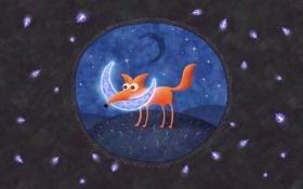 Обои лиса, ночь, месяц, светлячки, луна