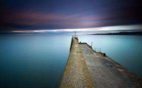 Картинка море, пейзаж, закат, пирс