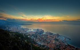 Обои закат, горы, город, огни, океан, побережье, вечер