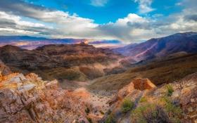 Обои каньон, природа, облака, скалы
