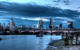 Картинка облака, река, HDR, фото, город, Лондон, Англия