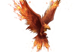 Обои фантастика, птица, феникс, арт, фон, крылья, полет