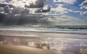 Картинка облака, берег, небо, океан, лучи, утро, море