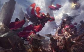 Картинка туман, оружие, огонь, руины, Арт, воины, схватка