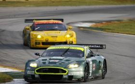 Картинка Aston Martin, гонка, трек, chevrolet corvette