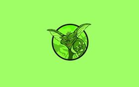 Обои зеленый, улыбка, монстр, круг, минимализм, гремлин, gremlin