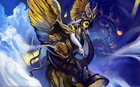 Обои Chen Wei, крылья, рог, ангел