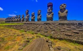 Обои статуя, небо, остров Пасхи, моаи, Рапа-Нуи, Чили
