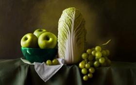 Картинка стол, фон, яблоки, виноград, посуда, фрукты, овощи