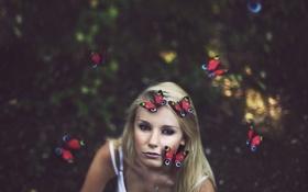 Картинка блондинка, настроение, бабочки, девушка, взгляд, боке