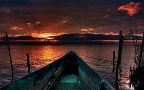 Картинка закат, лодка, вода, небо, море