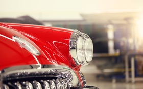 Обои макро, красный, фары, тюнинг, Corvette, Chevrolet, шевроле