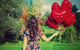 Обои листья, девушка, деревья, красный, фон, дерево, шары