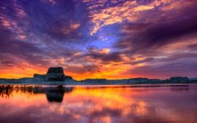 Обои небо, скала, Аризона, Юта, США, озеро Пауэлл, каньон Глен