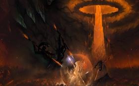 Картинка демон, тела, посох, сфера, схватка, Маг, поле битвы