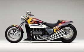 Картинка фон, мотоцикл, чоппер