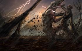 Обои гроза, оружие, монстр, арт, пасть, схватка, Riddick