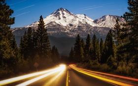 Обои природа, лес, горы, вечер, дорога