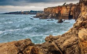Обои море, волны, скалы, буря