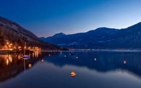 Картинка горы, огни, озеро, яхта