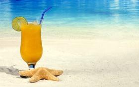 Картинка summer, beach, fresh, sand, fruit, orange, drink