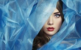 Картинка девушка, лицо, портрет, текстура, синяя материя