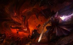 Картинка огонь, рога, тьма, меч, дракон, воин, магия