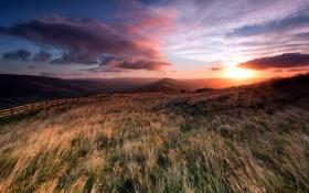 Картинка закат, пейзаж, поле, забор