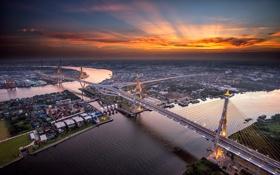 Обои город, небо, мост Дипангкорн Расмийоти, Бангкок, река Менам-Чао-Прая, вечер