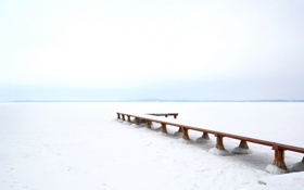 Картинка white, lake, snow, frozen, pier