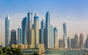 Обои Dubai, skyline, sky, sea, water, buildings, plants