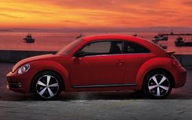 Обои фон, Volkswagen, вид сбоку, Фольксваген, Fusca