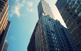 Картинка небо, облака, окна, здания, небоскребы, Нью Йорк, бетон.