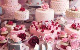 Картинка праздник, розы, красота, торт, розочки