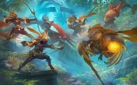 Обои лес, оружие, фэнтези, арт, существа, битва