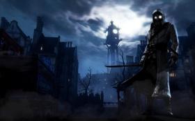 Картинка небо, взгляд, ночь, город, оружие, луна, игра