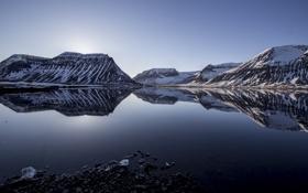 Обои снег, горы, озеро, отражение, вершины, гряда
