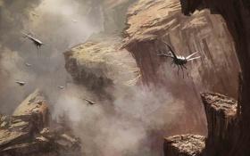 Обои горы, насекомые, скалы, крылья, арт, существа, ущелье