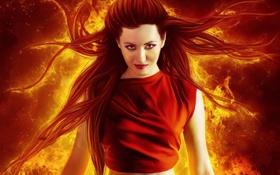 Картинка глаза, фантастика, девушка, огнь, красные губы, макияж, волосы