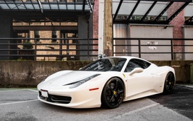 Обои Ferrari, white, 458, italia, road, parking, building