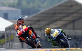Обои скорость, Гонка, Трасса, Honda, Yamaha, MotoGP, Valentino Rossi